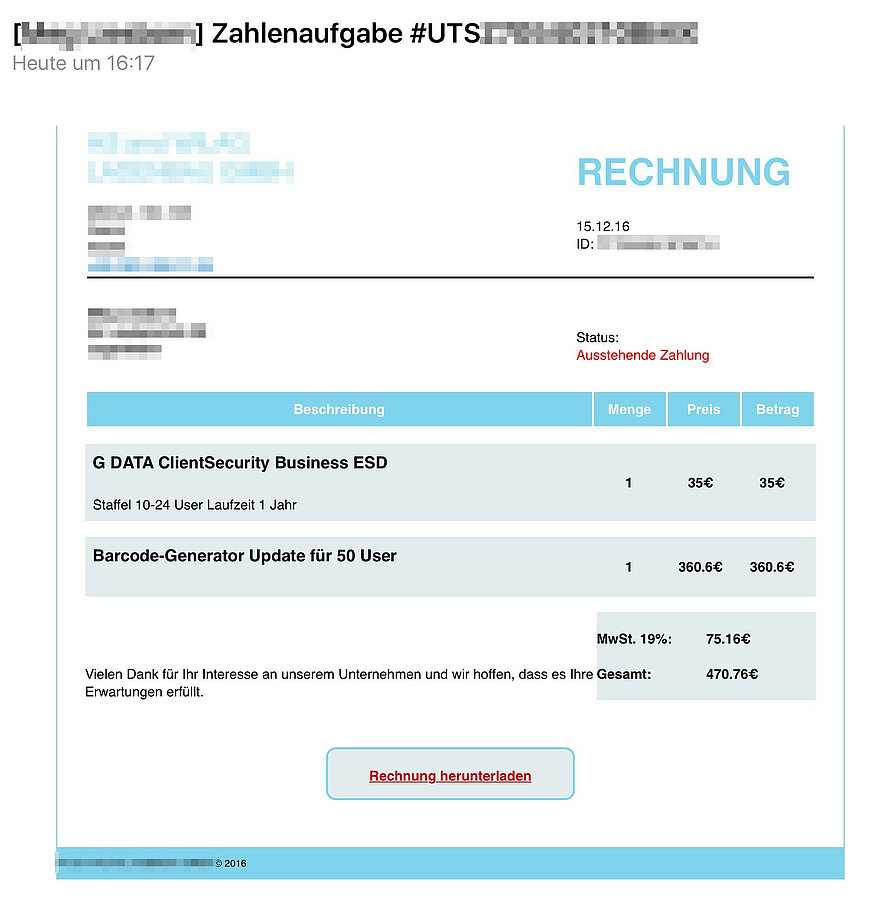 ransomware kampagne mit fiktiven rechnungen per e mail g. Black Bedroom Furniture Sets. Home Design Ideas