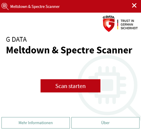 G DATA Meltdown und Spectre Scanner starten