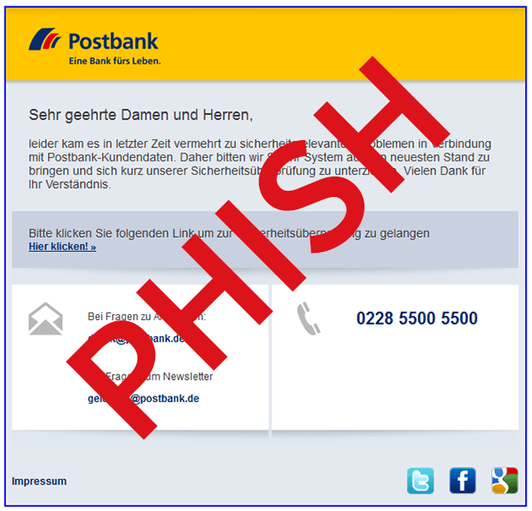 c4ab952a639223 Screenshot einer Phishing E-Mail im Design der Postbank - Zum Vergrößern  klicken